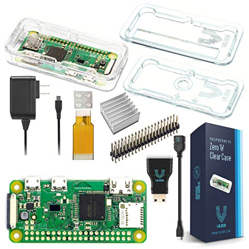 Vilros Raspberry Pi Zero W Basic Starter Kit - Clear Case Edition - inkl. Pi Zero W Netzteil & Premium Clear Case