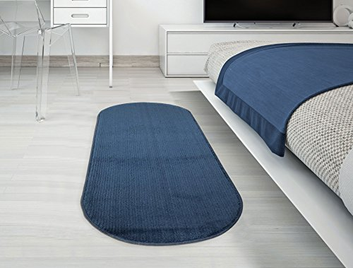 "Silk Road Concepts Oval Runner Bath Rug, 20"" x 59"", Navy"