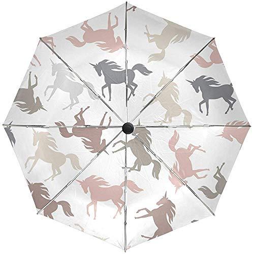Jacque Dusk Regenschirm-Bunter Einhorn-Schattenbild-Regenschirm-Selbstregen-Winddichter Kompakter 3 Faltender Reise-Regenschirm-Uvschutz