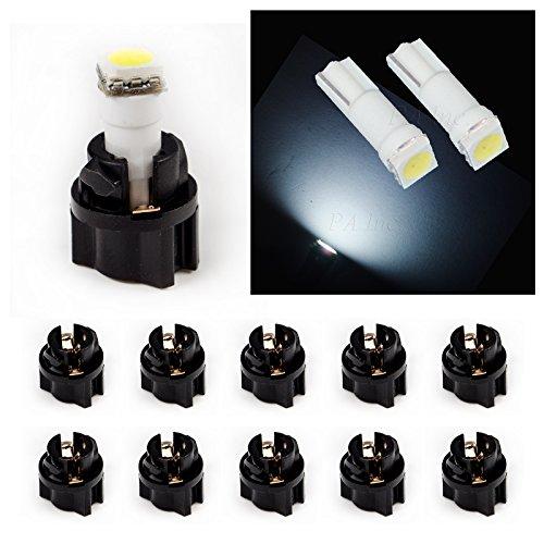 APA PA 10 x T5 74 Wedge 5050 1 SMD Voiture Tableau de bord lumière 12 V + Prise Twist Lock (Blanc)