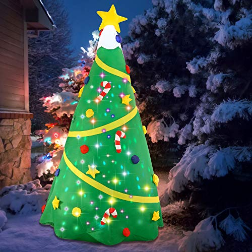 Joiedomi Christmas Inflatable Decoration 8 FT Christmas Tree with Light with Build-in Projection Blow Up Self-Inflatables for Christmas Party Indoor, Outdoor, Yard, Garden, Lawn Décor.