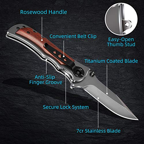 GVDV Pocket Folding Knife with 7Cr17 Stainless Steel, Tactical Knife for Camping Hunting Hiking, with Titanium Coated Blade + Safety Liner-Lock + Belt Clip, Grey