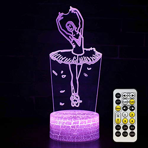 Ballet Night Light Kids Bedside Lamp Ballerina Gifts 7 Colors Changing with...