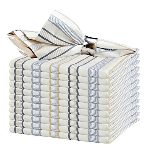 GLAMBURG Servilleta de tela de algodón Juego de 12 servilletas de algodón hiladas de 46x46 Cm con esquinas ingletadas y un generoso dobladillo, servilletas de cóctel, servilletas de boda - gris carbón