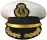 CHECKIN Custom Military Costume Admiral Hats Navy Officer Cap Yacht Captain's Hat Sailor Cap, White, 57cm = M = US 7