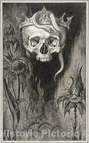 Historic Pictoric Art Print : Henry Weston Keen - Skull Crowned with Snakes and Flowers, The Duchess of Malfi : Vintage Wall Décor : 08in x 12in