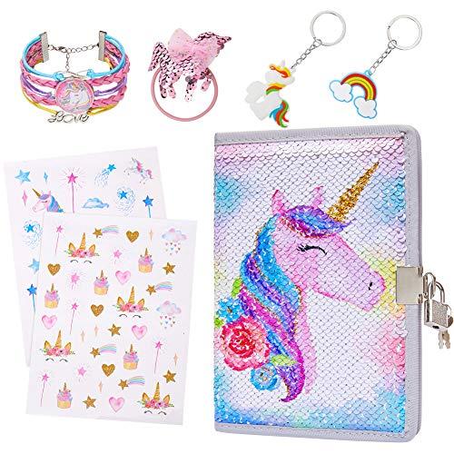 Basumee Kinder Tagebuch Mädchen Pailletten Regenbogen Einhorn Notizbuch mit Schloss und Schlüsseln, Fester Einband, with girl's unicorn bracelet