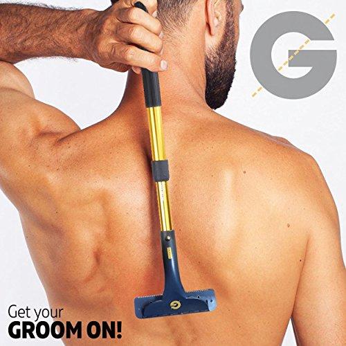 Groomarang ontharingsapparaat voor rug en lichaam - multifunctioneel en uitschuifbaar scheermes en haarverwijderaar voor mannen, crèmegereedschap, back-in-it