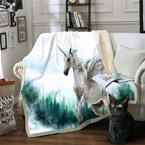 FDCSYP dekens, zacht beddengoed, dubbele strepen, paardendeken, wit, 3D, dieren, reizen, druk, micifusion, warm licht, sprei, winterdeken, deken 150×200cm/60×80inch