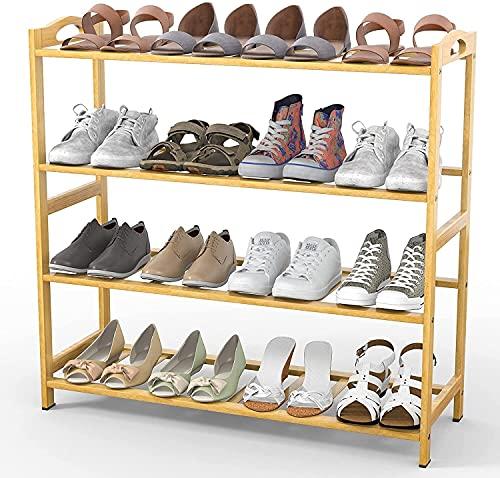 LSZ organizador de zapatos Piezas de almacenamiento de zapatos de bambú de 4 niveles Estante de zapato apilable simple para el vestíbulo del vestíbulo Dormitorio del armario, color de madera natural o