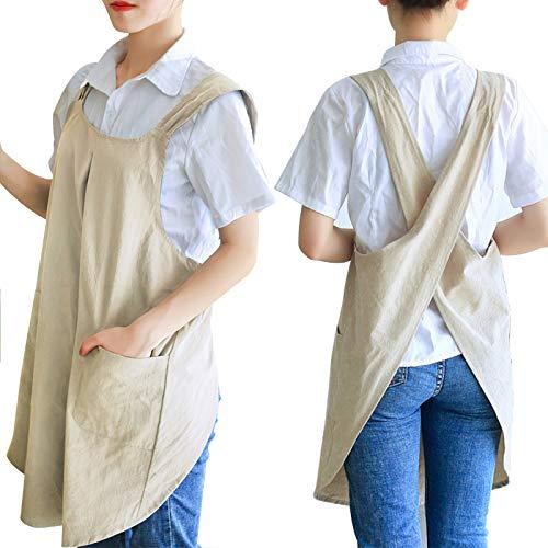 Zakicol Women's Cross Back Apron Baking Gardening Cleaning Works Cotton/Linen Blend Apron with 2 Pockets (Khaki)