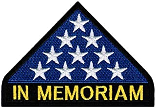 IN MEMORIAM FOLDED US FLAG Embroidered Funny Biker Saying Patch Vest Jacket Emblem Motorcycle