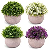 CEWOR 4 Packs Artificial Mini Potted Plants Plastic Faux Topiary Shrubs Fake Plants for Room Office Desk Decoration