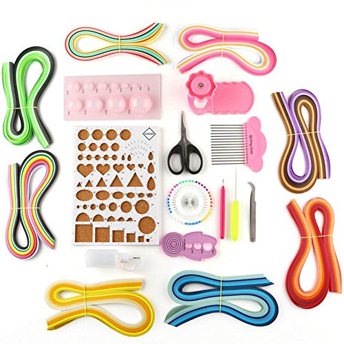 Rely2016 20PCS/Set 960 Strips DIY Paper Quilling Kit with Quilling Mold, Scissors, Pearl Pin, Crimper, Half -ball Making Board, Curling Coach, Comb, Tweezers, Awl, Glue Bottle, Glue and Pen (3mm)
