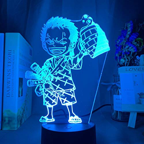 3D LED Optical Illusion LampAnime One Card Roronua Zorro Night7 Colors Change Table Table Lamp Home Decor for Children's Birthday Or Holiday Gifts-16 colors remote