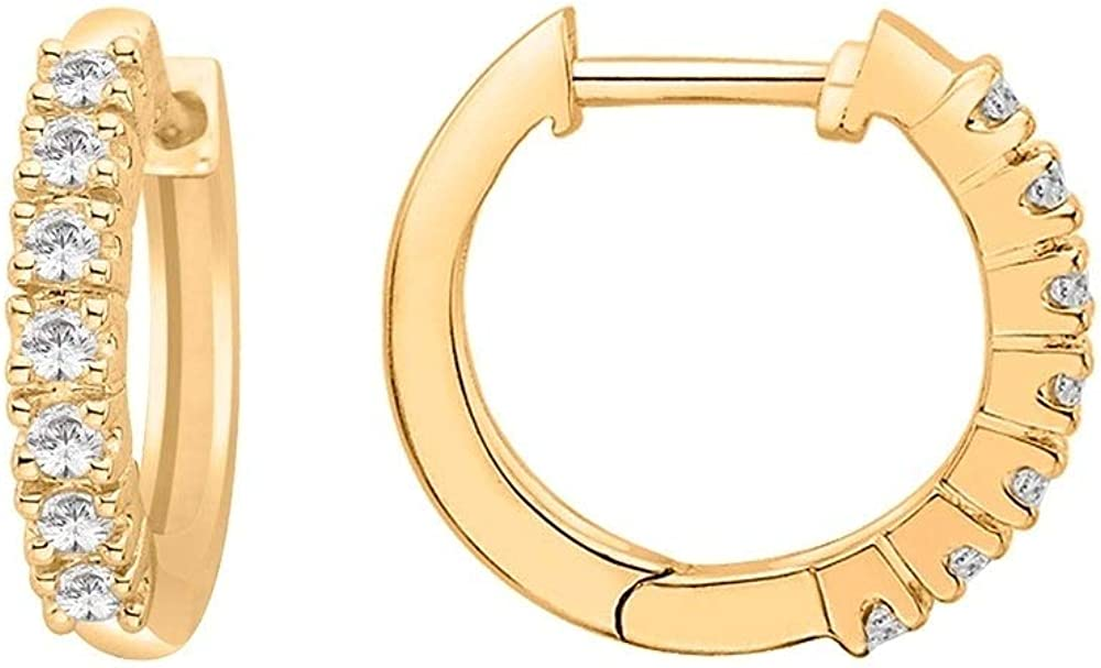 Round Brilliant 1/4 ctw Moissanite VSS1 Clarity, F-G Color Diamond 14k Yellow Gold Hoop Earrings