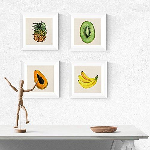 PACK de láminas para enmarcar FRUTAS TROPICALES. Posters cuadrados con imágenes de frutas. Decoración de hogar. Láminas para enmarcar. Papel 250 gramos alta calidad