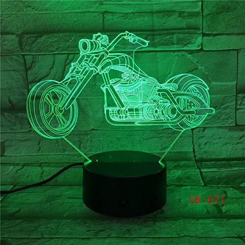 lampara 3D Pared Motocicleta Rueda Grande Carreras Motocicleta luz 7 Cambios de Color Interruptor táctil y Remoto Navidad