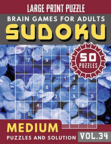 Sudoku Medium: suduko lover | Sudoku medium difficulty for Senior , mom , dad Large Print (Sudoku Brain Games Puzzles Book Large Print Vol.34)