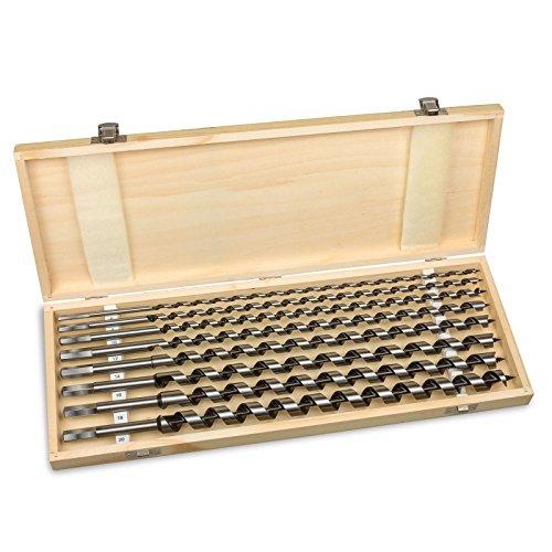 hanSe® Schlangenbohrer-Set 46cm lang 8-teilig in Holzbox Holzbohrer Balkenbohrer Spiralbohrer Bohrerset