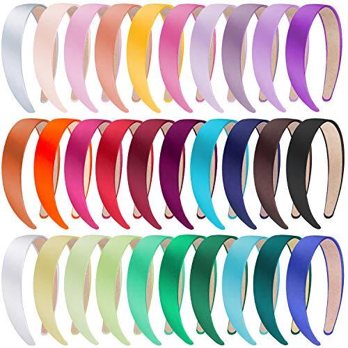 SIQUK 30 Stück Satin Haarreifen Damen Haarreifen Satin Breit Haarreif für Damen und Mädchen, 30 Farben