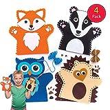 Baker Ross- Woodland Animal - Kit de Costura para Marionetas de Mano (3 Unidades), Multicolor, 4 Pack (AR637)
