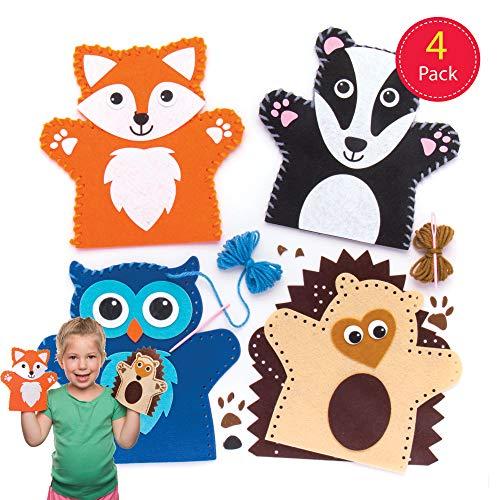 Baker Ross Kit per realizzare marionette da mano a forma di animali del bosco (confezione da 4) per creazioni fai da te e decorazioni per bambini