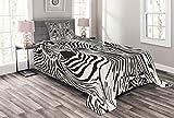 ABAKUHAUS Zebra-Druck Tagesdecke Set, Safari Zebra-Streifen, Set mit Kissenbezug Kein verblassen, für Einselbetten 170 x 220 cm, Weiß Schwarz