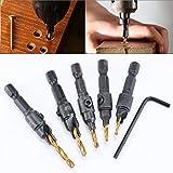 HOHXEN rivestito in titanio contatore bit set Power Hand drill bit set strumenti Dimensioni foro per vite Countersink drill bit set con 1/4hex shank set Countersink drill bit -5pcs