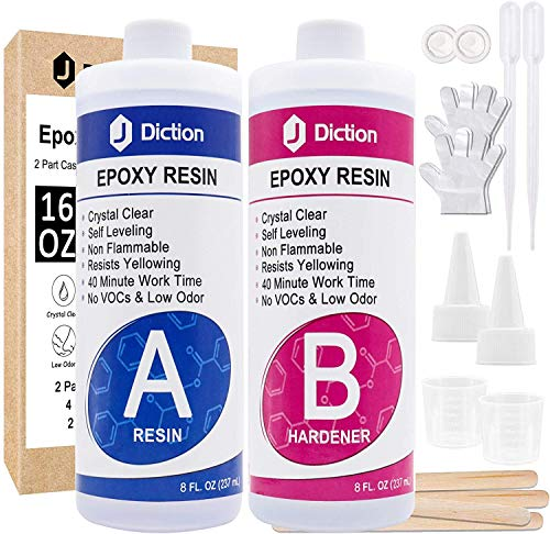 Epoxy Resin - 16 Oz. Art Resin, Crystal Clear Resin Kit, Epoxy Casting and Coating for Art, Jewelry, Tumblers, River Tables, Easy Mix 1:1 Resin Epoxy with Sticks, Graduated Cups and Gloves
