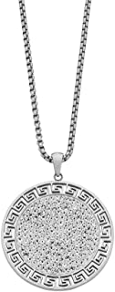 Bevilles Stainless Steel Crystal Greek Patter Disc Necklace