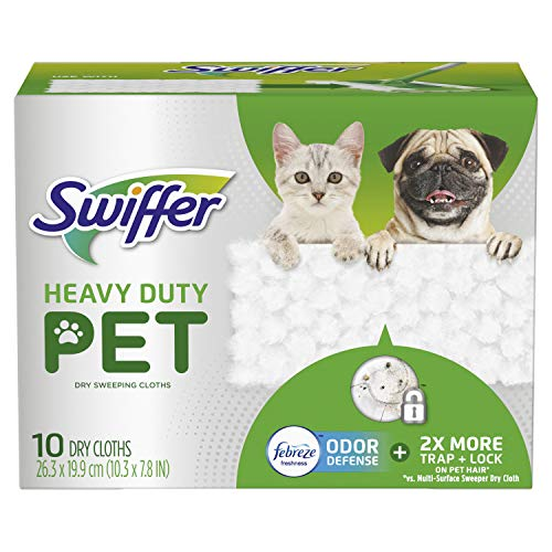 Swiffer Heavy Duty Pet, Dry Sweeping Cloth Refills with Febreze Odor Defense, 10Count