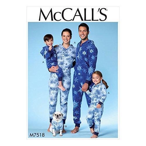McCall 's Patterns Herren/Damen/Jungen/Mädchen/Kind Jumpsuit und Hundemantel, Mehrfarbig, Größen 3–8