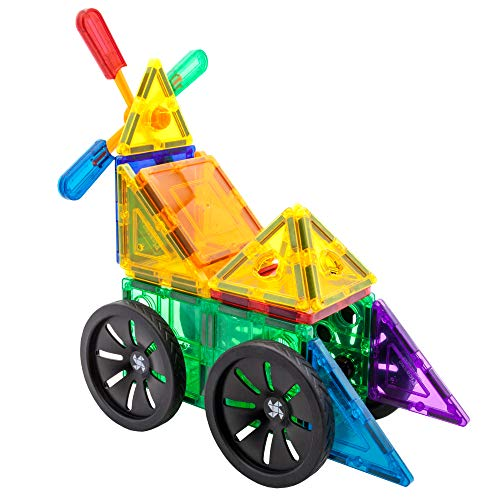 PicassoTiles 20 Piece Magnetic Building Blocks with Detachable Wheels and Windmill Click-in Inserts Magnet Construction Toy Car Set STEM Learning Kit Educational Playset Child Brain Development PT20R