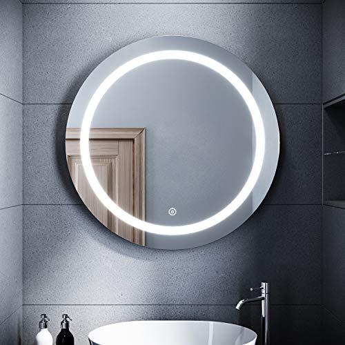 SONNI Espejo de Baño Redondo Antinieble,Espejo Pared LED IP44 con Interruptor Táctil,Espejo de Baño con Diseño Moderno 840x840x45mm