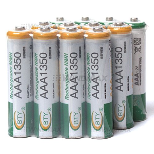 WindMax US Seller 12 PCS BTY 1350mAh 1.2V AAA Size Ni-MH Rechargeable Battery Batteries for Toys Wireless Phone Remote Control Digital Cameras PDAs Portable Players