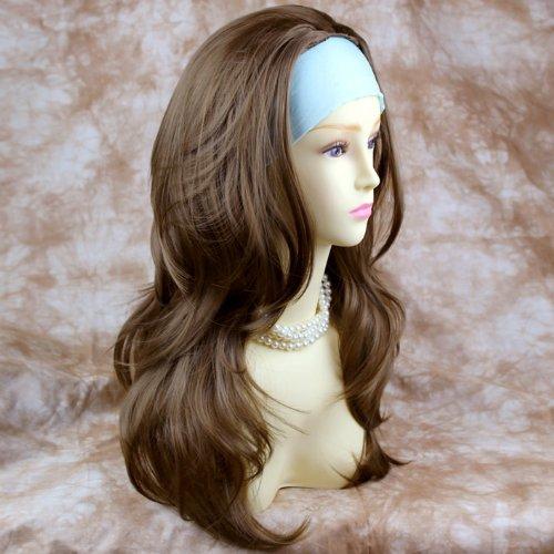 Marron Clair 3/4 Perruque Pièce Extension de cheveux Longue Dégradé Ondulée Demi Perruque