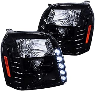 Spec-D Tuning 2LHP-DEN07G-TM Gmc Yukon Denali Dual Halo Led Glossy Black Housing Projector Headlights