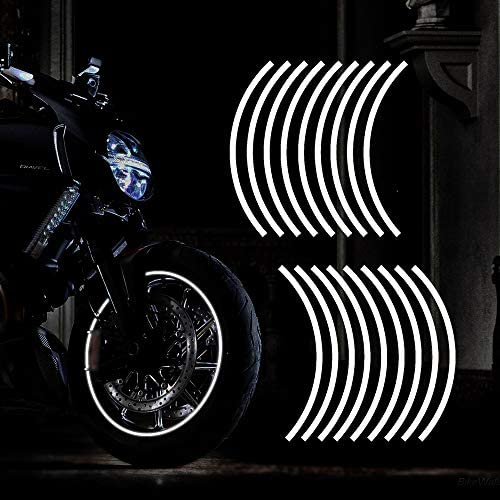 TOMALL 18pcs Lengthen 16 19 Reflective Wheel Rim Stripe Decal for Motorcycle Wheels Car Cycling product image