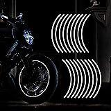 TOMALL 18 adesivi riflettenti per cerchioni da 40,6 a 48,3 cm, per moto, ruote, auto, ciclismo, bicicletta, bicicletta, decorazione di sicurezza riflettente per auto (bianco)