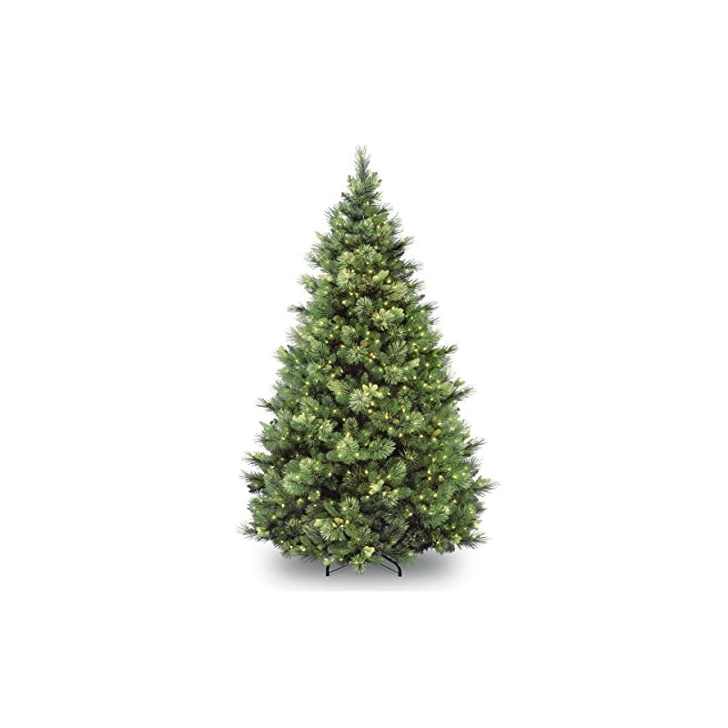 silk flower arrangements national tree company 'feel real' pre-lit artificial christmas tree   includes pre-strung white lights   flocked with cones   carolina pine - 9 ft