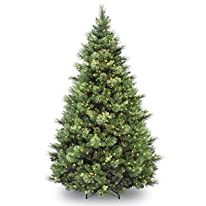 National Tree Company 'Feel Real' Pre-lit Artificial Christmas Tree | Includes Pre-strung White Lights | Flocked with Cones | Carolina Pine – 7 ft