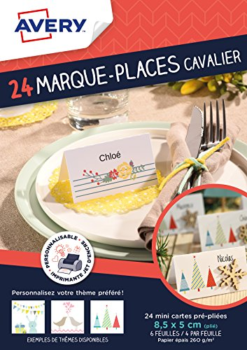 AVERY - Sachet de 24 marque-places cavalier, Personnalisables et imprimables, Impression jet d'encre,
