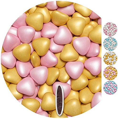 EinsSein Schokoherzen Pearl MIX 1kg rosa-gold Schokodragees Herzen Candybar Hochzeitsmandeln griechische Herz