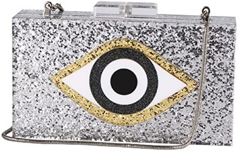 Max 63% OFF Sequin Silver Acrylic Clutch Bags Glitter Spring new work one after another Even Bag Purse Perspex