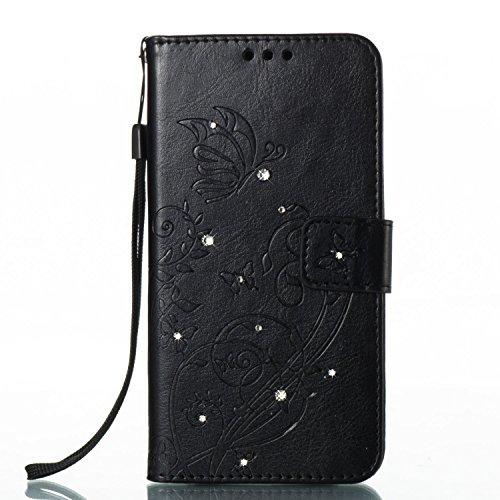 Funda QPOLLY compatible con Samsung Galaxy A3 2017, funda de piel con tapa con brillantes brillantes,
