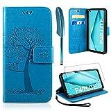 AROYI Handyhülle für Huawei P40 Lite Hülle + Schutzfolie, Huawei P40 Lite Klapphülle Hülle PU Leder Flip Wallet Schutzhülle für Huawei P40 Lite Tasche, Blau