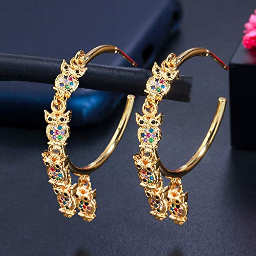 Multicolor Cubic Zirconia Gold Color Owl Charms Circle Hoop Earrings For Women Unique Animal Jewelry multicolor