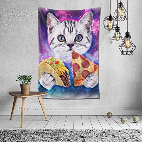 Tapiz divertido diseño de galaxia, taco, gato, pizza, decoración de pared, mandala, playa, colcha india intrincada, tapices de 101 x 152 cm