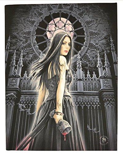 Sirenagótico (Gothic Siren)-unángelgóticoconcálizenunaCatedral/Iglesia-diseñofantásticoporartistaAnneStokes–lienzocuadroenmarcodeplacadepared/artedepared